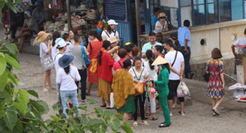 Chinese and Russian tourists in Nha Trang in Vietnam