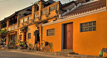 Hoi An in Vietnam with the romantic yellow color